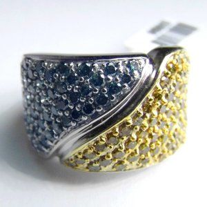Wide 2.00ct Blue & Yellow DIAMOND 14KW Gold Ring